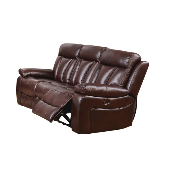 zenith brown top grain leather power motorized lay-flat reclining