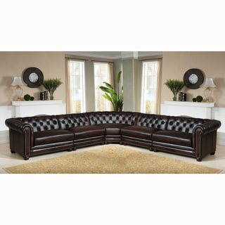 Lex Premium Top Grain Brown Tufted Leather Chesterfield Sectional Sofa
