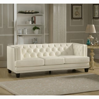Elle Tufted Premium Cream Top Grain Leather Sofa