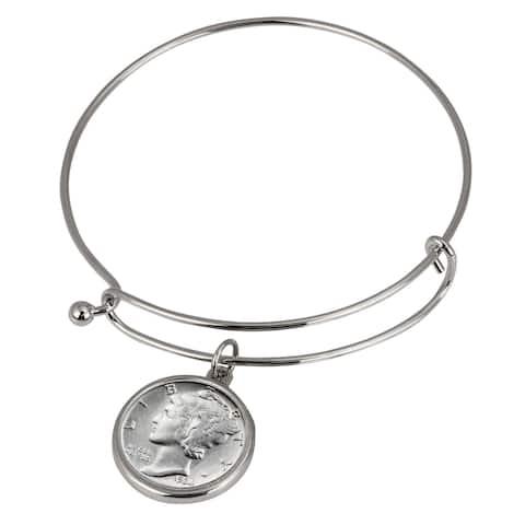 Silver Mercury Dime Silver Tone Coin Bangle Bracelet