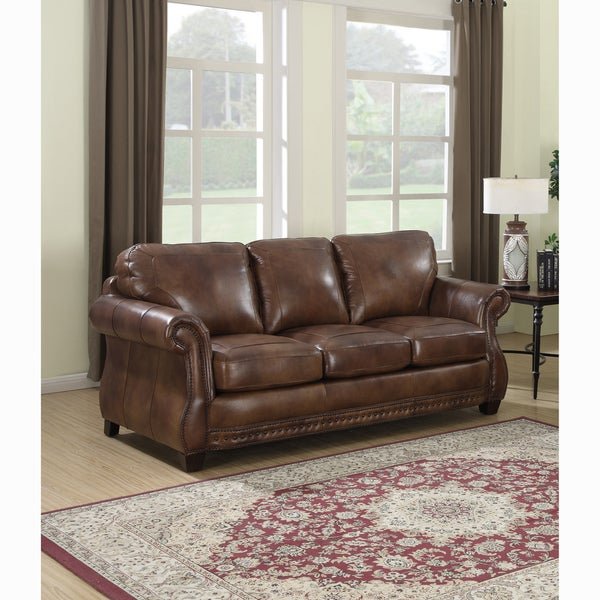 Shop Sterling Cognac Brown Premium Top Grain Italian Leather Sofa