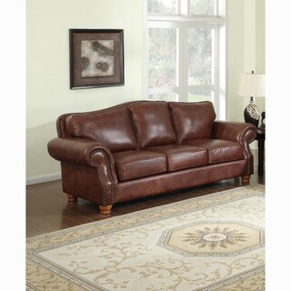 Brandon Distressed Whiskey Premium Top Grain Italian Leather Sofa