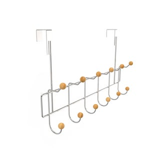 Over the Door Organizer Rack- Hanging Clothing and Storage Rack- 6 Double Hooks by Windsor Home