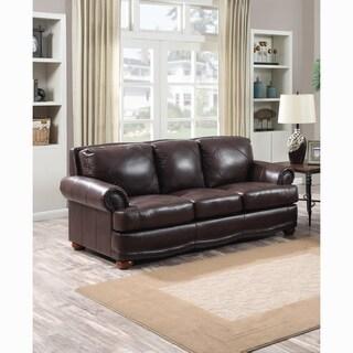 Shoreline Chocolate Brown Premium Top Grain Italian Leather Sofa
