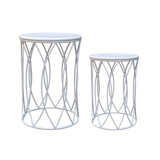 Bionca Set of 2 White Side Table