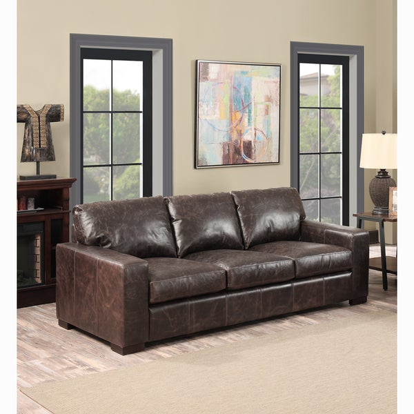 Maxweld Premium Distressed Brown Top Grain Leather Sofa