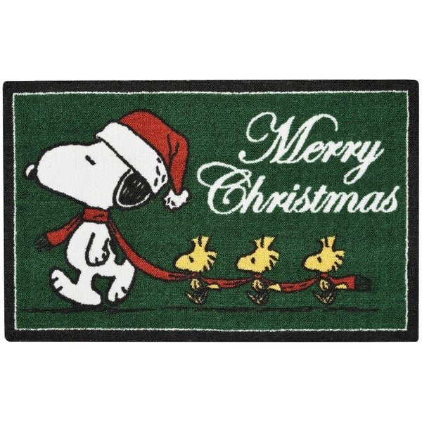 Peanuts Enhance Merry Christmas Green Accent Rug By Nourison