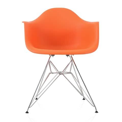 CozyBlock Orange Molded Plastic Dining Arm Chair with Steel Eiffel Legs