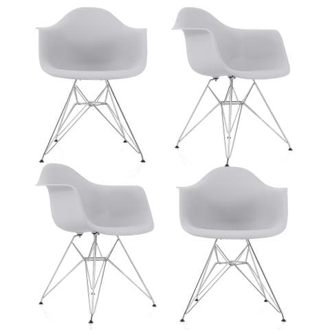 CozyBlock Set of 4 Light Gray Molded Plastic Dining Arm Chair with Steel Eiffel Legs