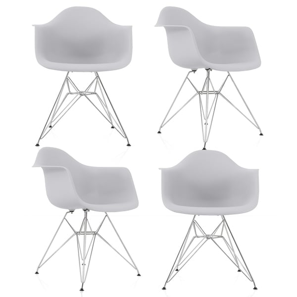 CozyBlock Set of 4 Light Gray Molded Plastic Dining Arm Chair with Steel Eiffel Legs. Opens flyout.