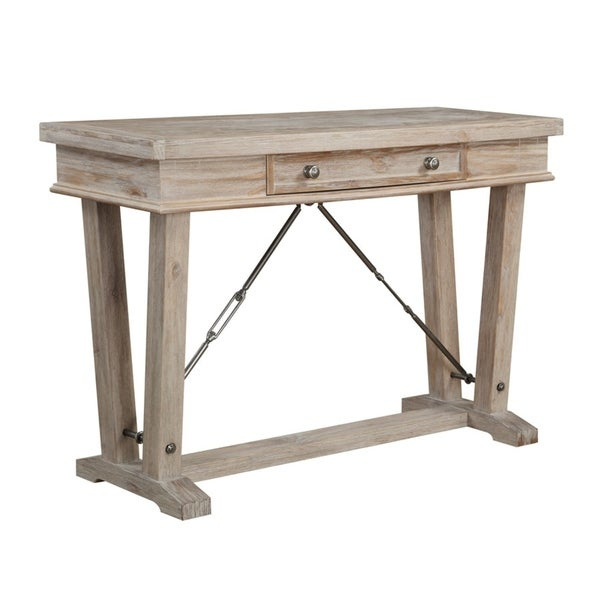 Castle Bay Natural Pine Sofa Table with Storage Drawer, Plank Style Top, And Turnbuckle Bracing