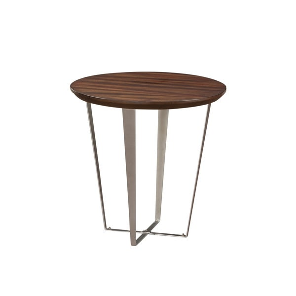 Cruiser Brown Round End Table with Round Wood Top And Metal Base