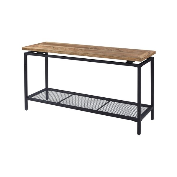 Magnolia Golden Oak and Black Sofa Table with Plank Style Top, Open Shelf, And Tubular Steel Frame
