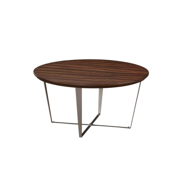 Cruiser Brown Round Coffee Table with Round Wood Top And Metal Base