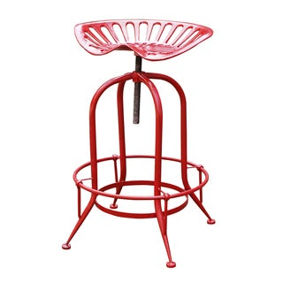 Jeco Antique Red Metal Wire Counter-height Stool