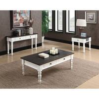 Emerald Home White and Brown Rustic Plank Top Cocktail Table