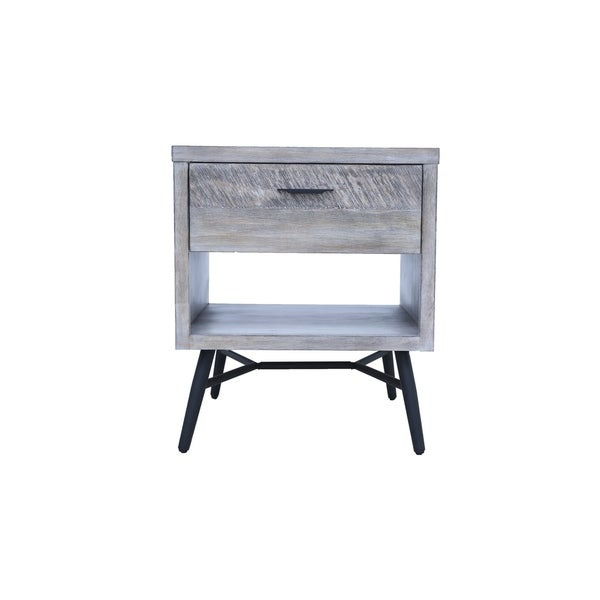 Strick & Bolton Rae Sterling Grey and Black Square End Table