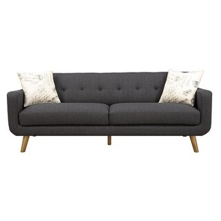 Emerald Home Remix Charcoal Sofa with 2 Accent Pillows