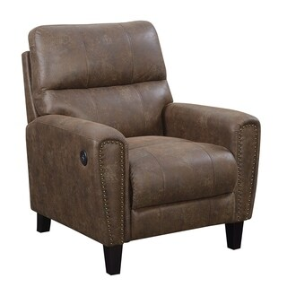 Emerald Home Dover Brown Push Back Chair Recliner with USB