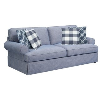 Emerald Home Mt Retreat Pool Blue Sofa with 4 Pillows