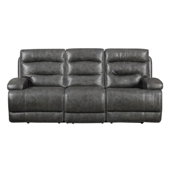 Burton Leather Sofa: Shop Burton Gray Reclining Sofa With Faux Leather, Dual