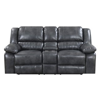 Emerald Home Navaro Gray Reclining Loveseat with Dual Recliners, Faux Leather Upholstery, And Pillow Top Back