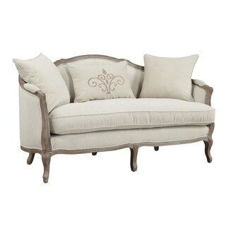 Emerald Home Salerno Sand Grey and Cream Settee with 2 Pillows and 1 Kidney Pillow