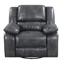 Emerald Home Navaro Gray Swivel Reclining Glider with Swivel Glider, Faux Leather Upholstery, And Pillow Top Back