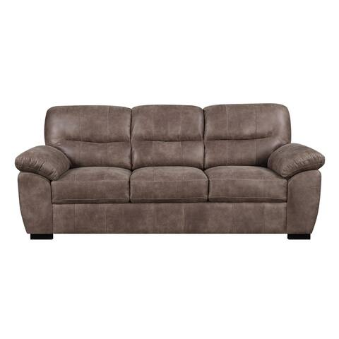 """Emerald Home Nelson Almond Brown 92"""" Sofa with Faux Leather, Pillow Top Back, And Padded Arms"""