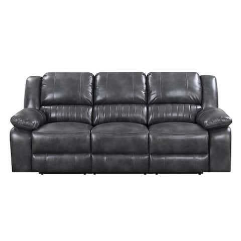 Emerald Home Navaro Gray Reclining Sofa with Dual Recliners, Faux Leather Upholstery, And Pillow Top Back