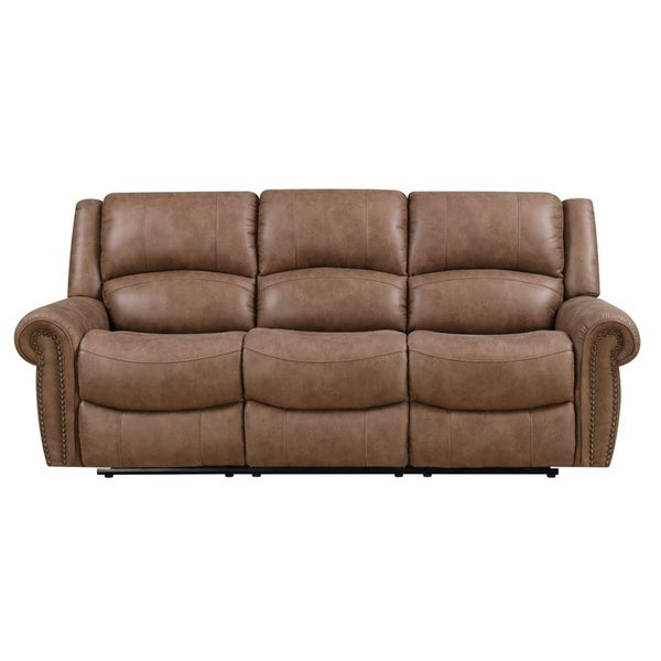 Shop Emerald Home Spencer Brown Reclining Sofa With Dual Recliners Nailhead Trim And Pillow