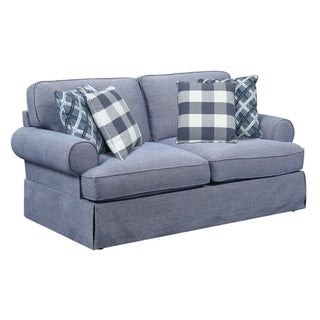 Mountain Retreat Pool Blue Loveseat, with Pillows, Roll Arms, Welt Trim, And Skirted Base