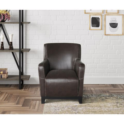 Carbon Loft Kaukeren Brown Accent Chair with Faux Leather Upholstery