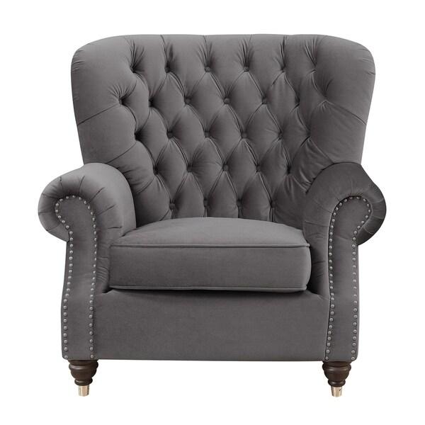 Gracewood Hollow Mudede Platinum Faux Leather Accent Chair