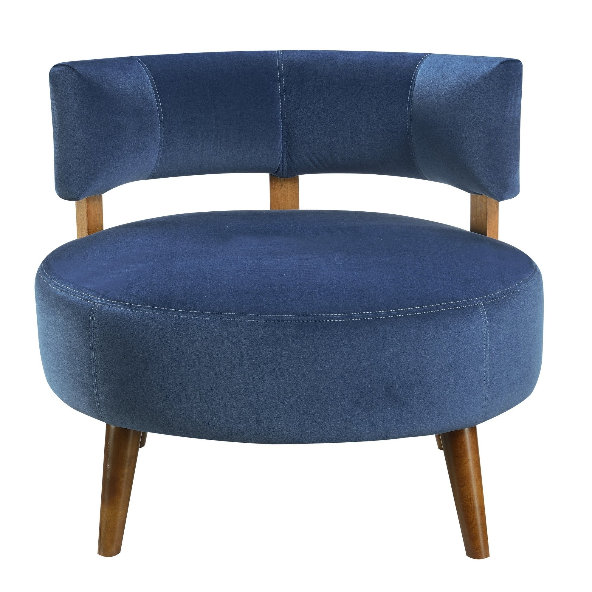 Sphere Cornflower Blue Accent Chair With Oversized Seat Curved Back And Stitching Detail Overstock 18045925