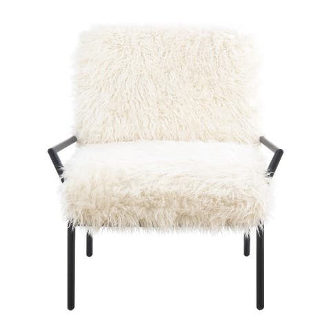 The Curated Nomad Butchertown Shaggy Off-white Upholstered Accent Chair