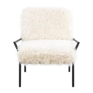 Emerald Home Royal White Faux-fur Accent Chair