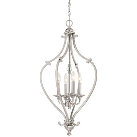 Savannah Row Brushed Nickel 4 Light Chandelier By Minka Lavery