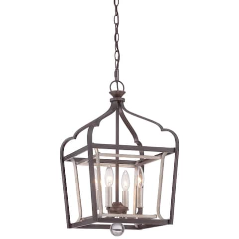 Astrapia Dark Rubbed Sienna with Aged Silver 4 Light Pendant by Minka Lavery