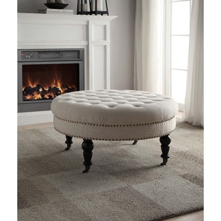 Abigal Natural Round Tufted Ottoman