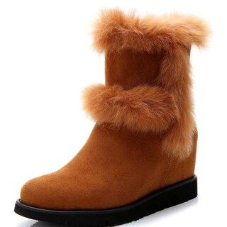 Rosewand Women's 'Clarens' Fur Trim Wedge Booties