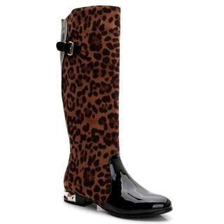 Rosewand Women's 'Greyton' Animal Print Goldtone Heels Boots