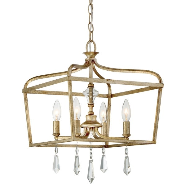 Laurel Estate Brio Gold 4 Light Pendant By Minka Lavery - 14.25 inches in diameter x 19.25 inches high. Opens flyout.