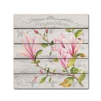Jean Plout 'Pink Magnolias 2' Canvas Art