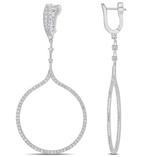 Miadora Signature Collection 14k White Gold Open Loop Dangle Earrings