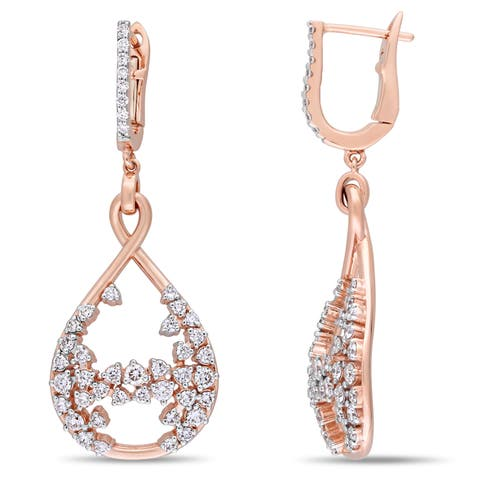 Miadora Signature Collection 14k Rose Gold 1-1/3ct TDW Diamond Vintage Teardrop Dangle Openwork Earrings - White
