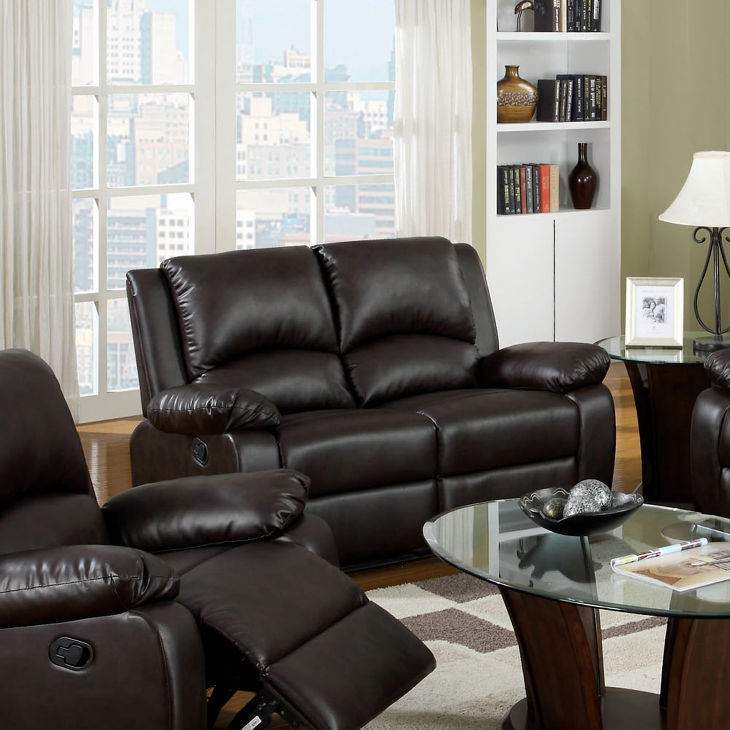 Furniture Of America Taveren Transitional Rustic Dark Brown Leatherette Reclining Loveseat