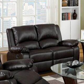 Furniture of America Rald Transitional Brown Reclining Loveseat
