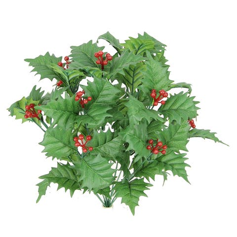 12 Stem Artificial Holly Leaves Berries Mixed Bush