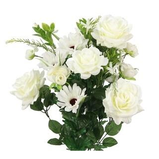 Artificial Rose G. Daisy Ranunculus Mixed Flower Bush